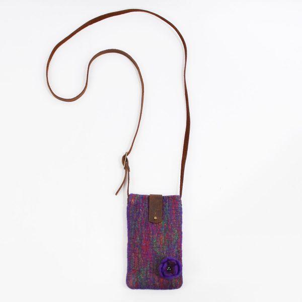 mini bag funda movil fieltro artesanal lana seda sari india wul
