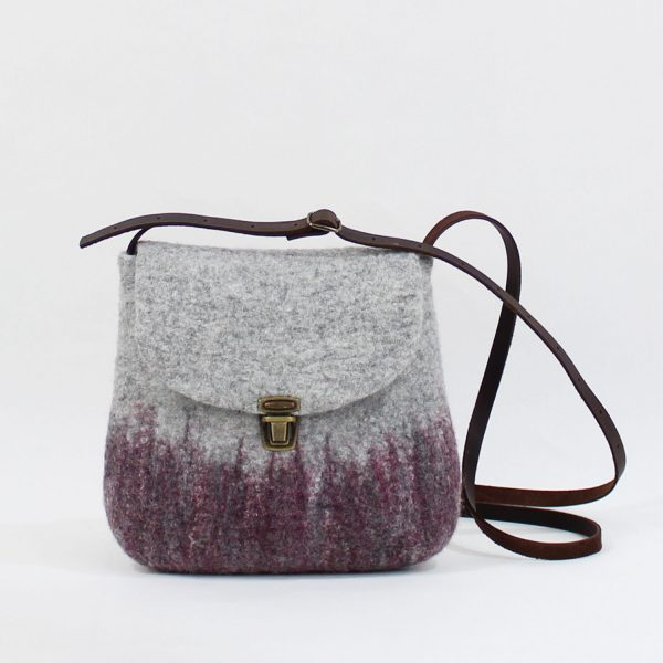 bolso pequeño bandolera fieltro lana seda morera bolso de hombro eco wul