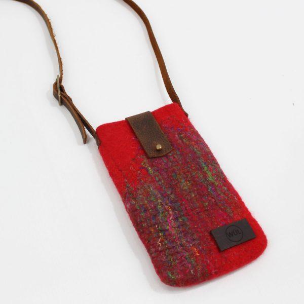 mini bag funda movil fieltro lana seda hecho a mano wul