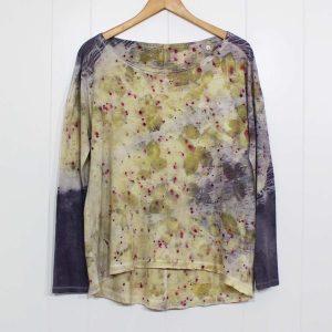 camiseta algodon ecoprint mujer botanical tinte natural