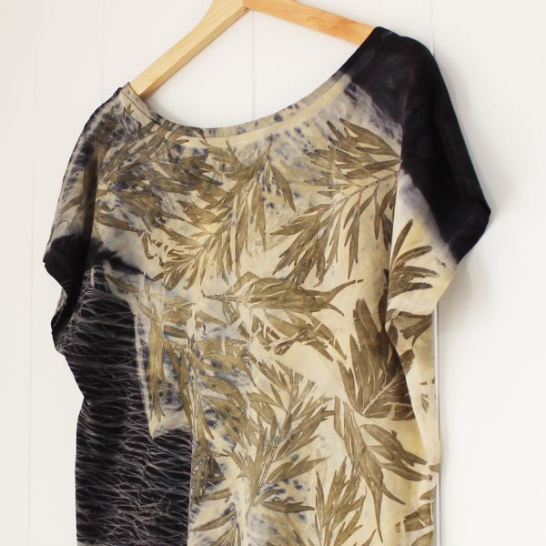 camiseta mujer algodón orgánico estampado botanico tintes naturales