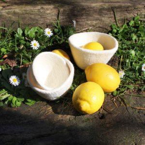 cuenco ovo blanco natural fieltro lana contenedor vaciabolsillos tiesto macetas plantas