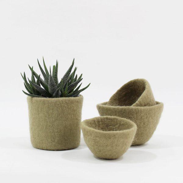 tiesto cesta lana fieltro bol bowl decoracion sostenible cuencos contenedores hecho a mano hogar eco