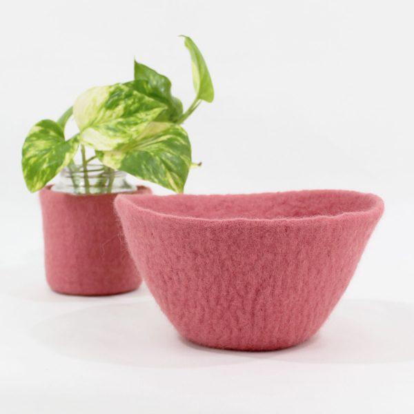 cesta cuenco bowl bol basket fieltro lana contenedor tiesto macetas plantas