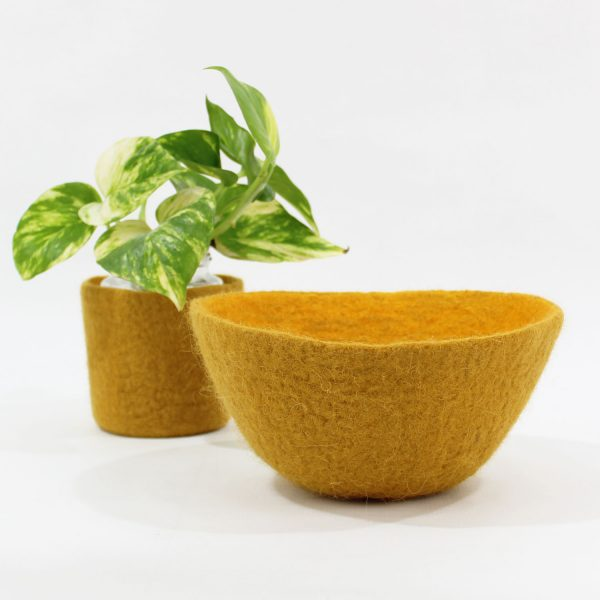 cuenco ovo bicolor fieltro lana contenedor vaciabolsillos tiesto macetas plantas bowl bol