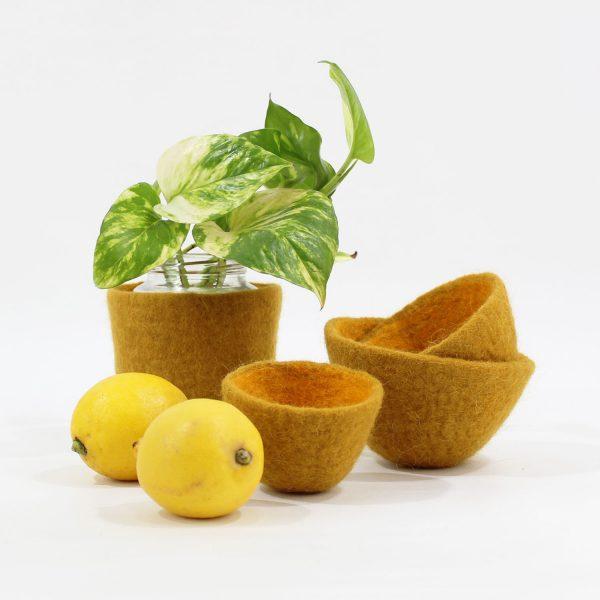 cuenco ovo bicolor fieltro lana contenedor vaciabolsillos tiesto macetas plantas
