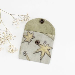 monedero algodon orgánico kika arce japones ecoprint estampado botánico tintes naturales